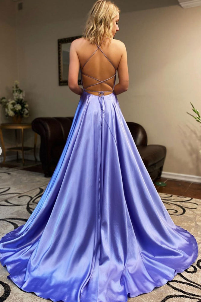 Simple sweetheart backless long satin prom dress evening dress