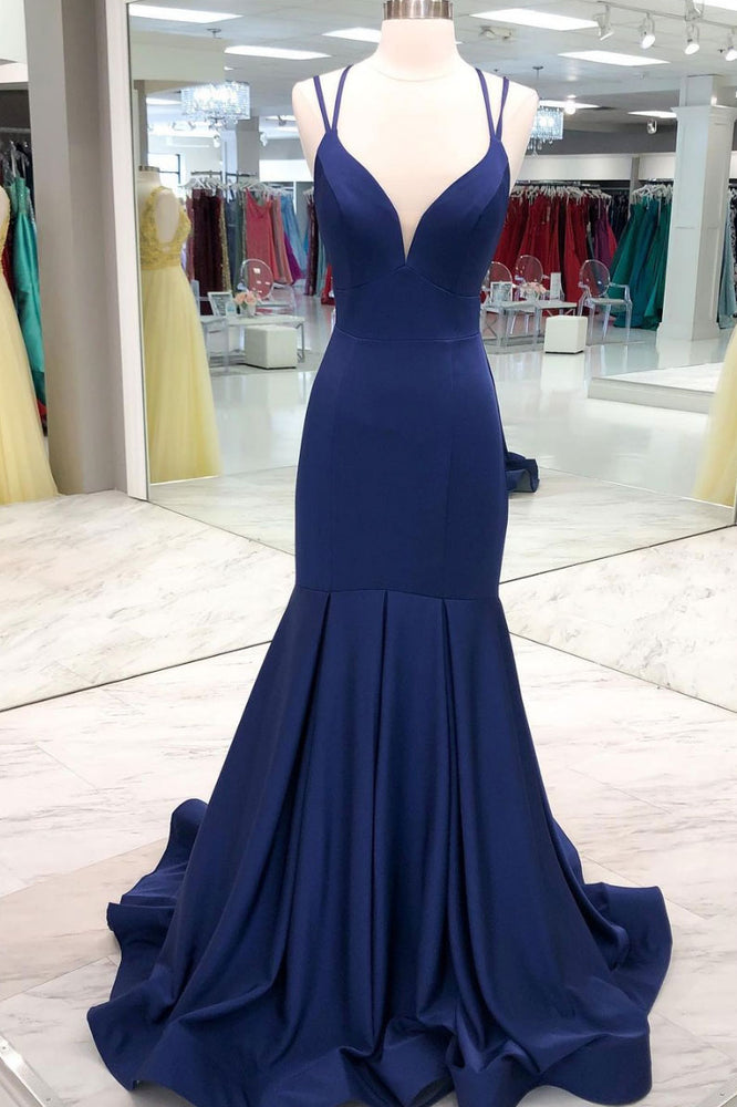 Simple dark blue satin long prom dress blue evening dress
