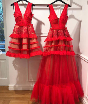 Red v neck tulle long prom dress, red tulle evening dress - shdress