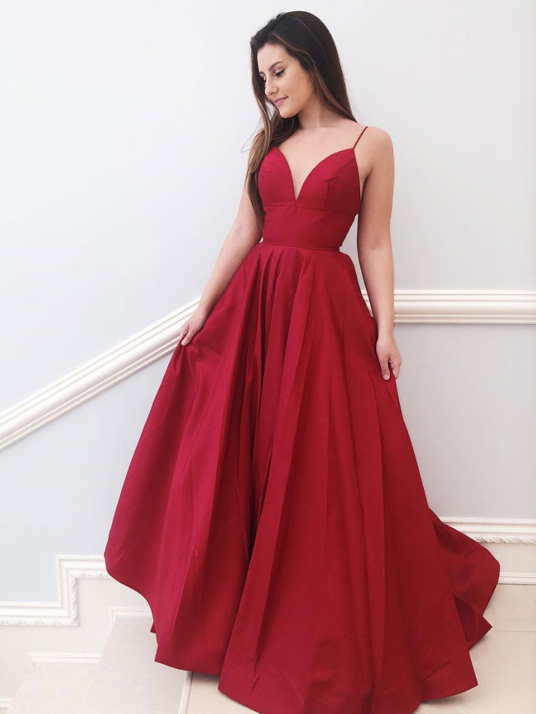 Red v neck satin A-line long prom dress red bridesmaid dress