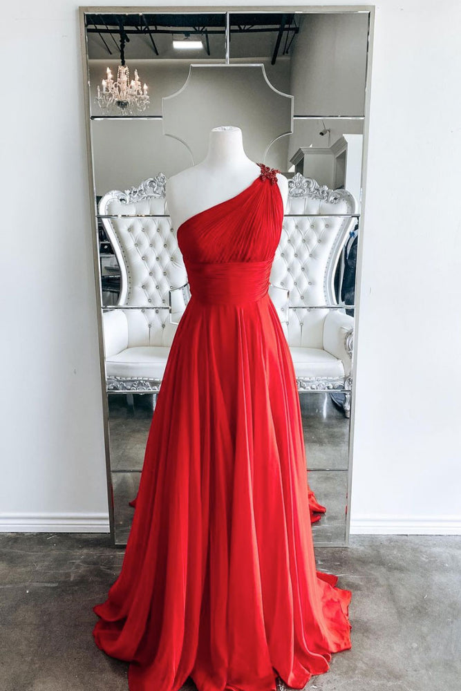 Red one shoulder long prom dress red evening dress
