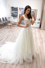 White v neck tulle lace long prom dress lace formal dress