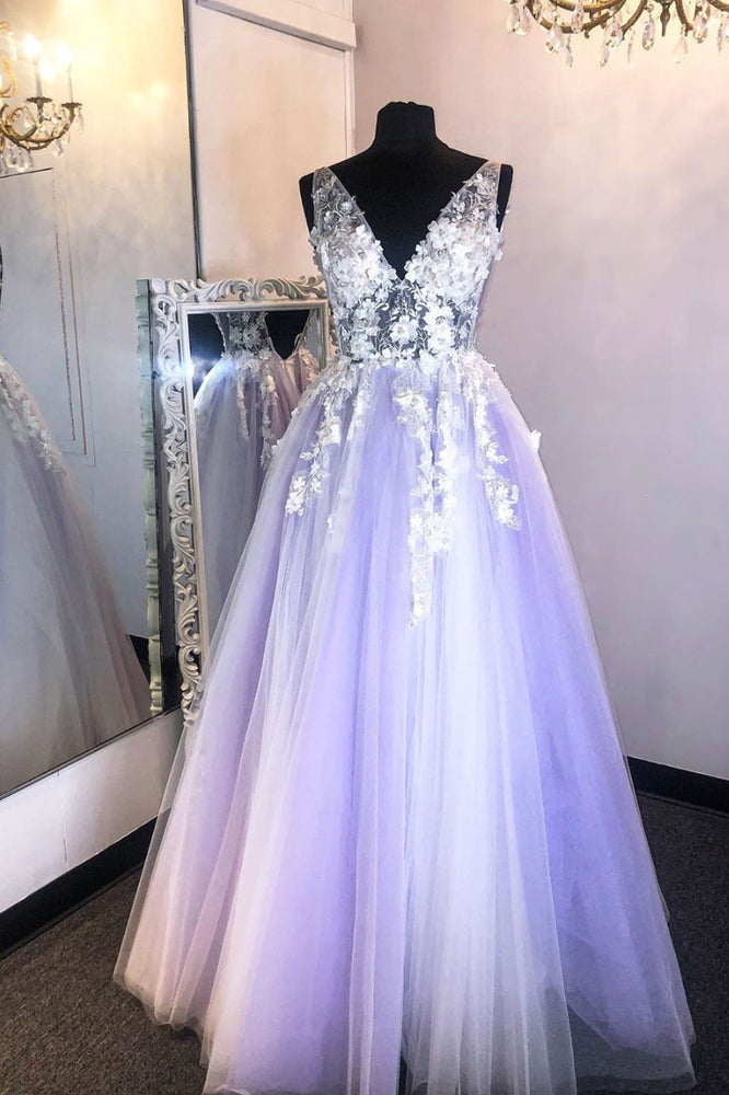 Purple v neck lace applique long prom dress purple formal dress