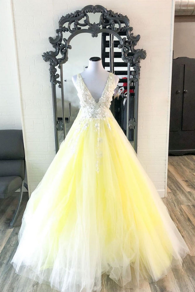 Yellow v neck tulle lace long prom dress yellow formal dress