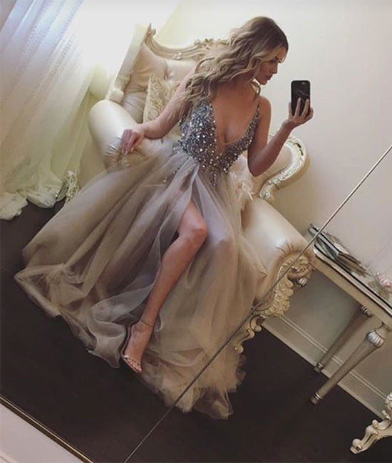 Gray v neck sequin tulle long prom dress, gray evening dress - shdress