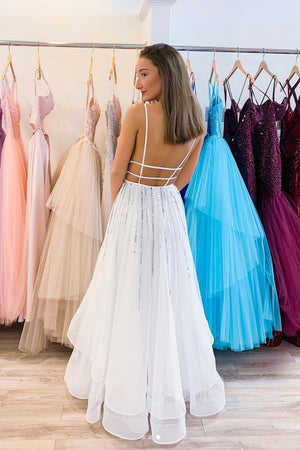 White v neck tulle sequin long prom dress white evening dress