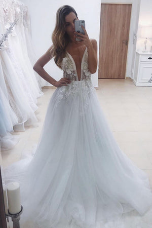 White v neck tulle lace beads long prom dress formal dress