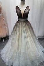 Simple Coffee tulle sequin long prom dress coffee evening dress