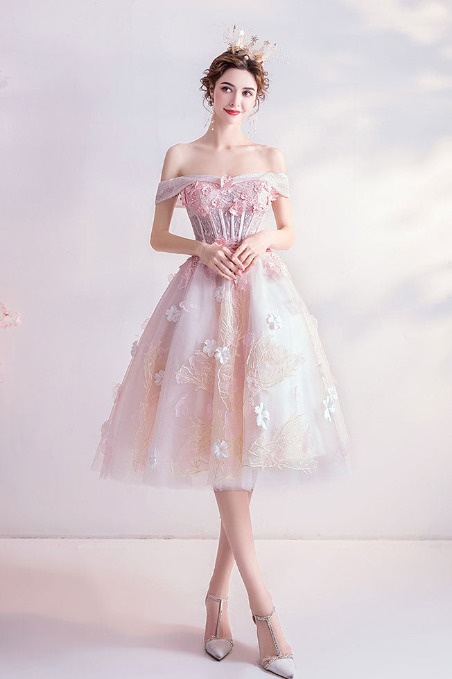 Pink sweetheart tulle lace short prom dress pink cocktail dress