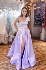 Simple purple satin long prom dress purple long evening dress