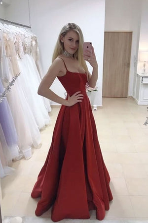 Simple red satin long prom dress satin long evening dress