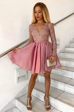 Pink v neck lace tulle short prom dress lace cocktail dress