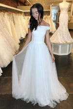 Simple white off shoulder long prom dress white tulle formal dress