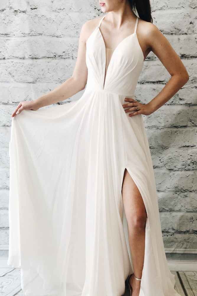 Simple white chiffon long prom dress, white evening dress