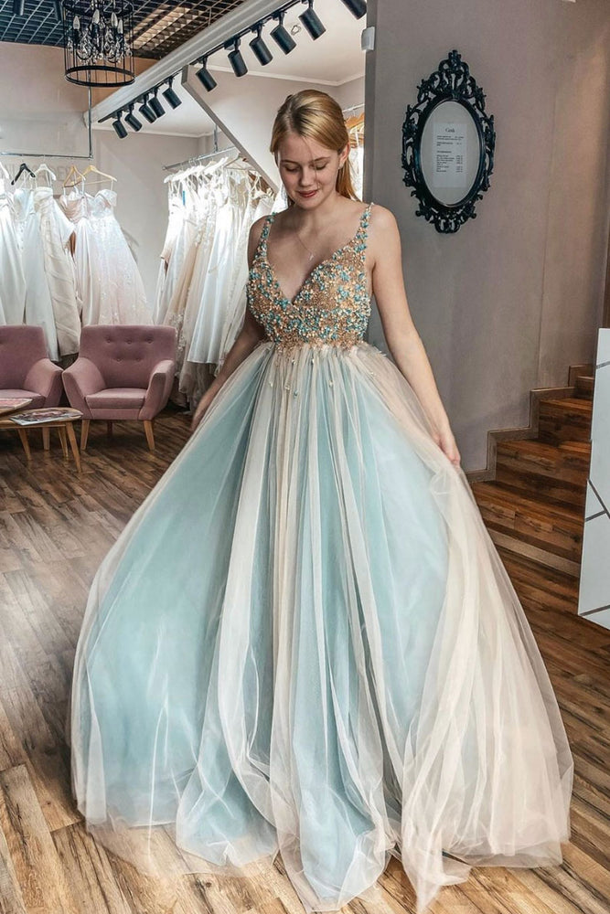 Unique v neck tulle lace long prom dress tulle formal dress