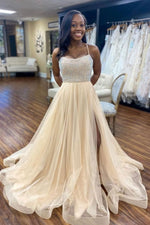 Champagne tulle beads sequin long prom dress tulle formal dress