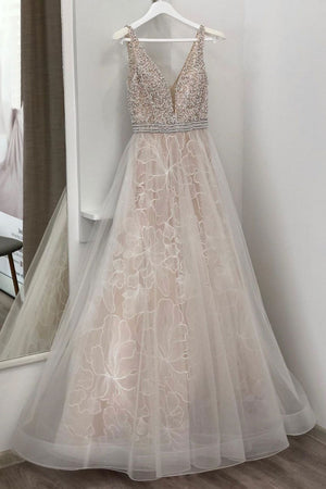 Light champagne tulle beads long prom dress, tulle evening dress