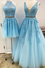 Blue tulle lace A_line prom dress blue lace tulle formal dress