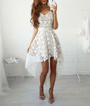 white A-line lace high low prom dress, lace homecoming dress - shdress