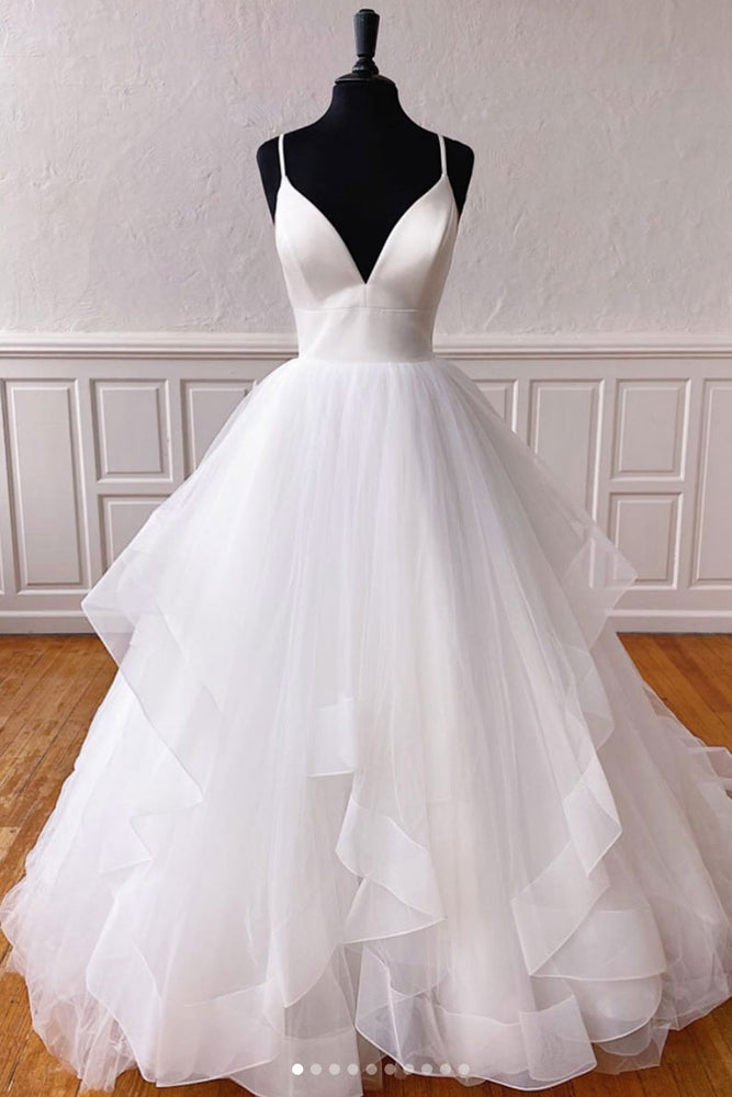 White v neck tulle long prom dress white tulle evening dress
