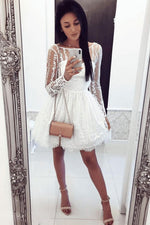 White round neck tulle lace short prom dress, lace homecoming dress