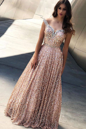 Unique sweetheart sequin long prom dress, sequin evening dress