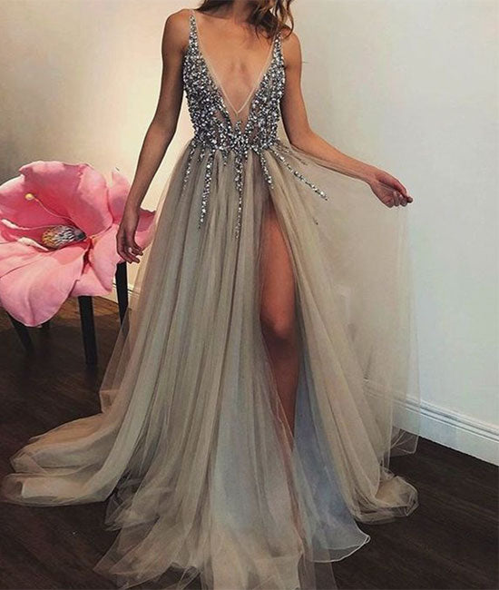 Gray A-line tulle beads sequin long prom dress, gray evening dress