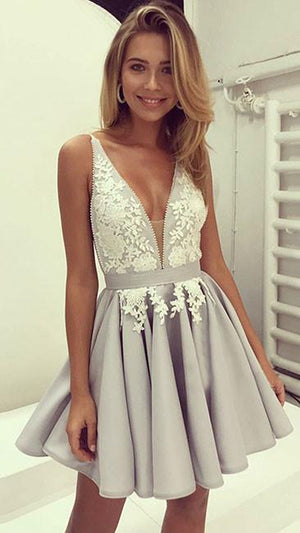 Cute gray v neck lace applique short prom dress - shdress