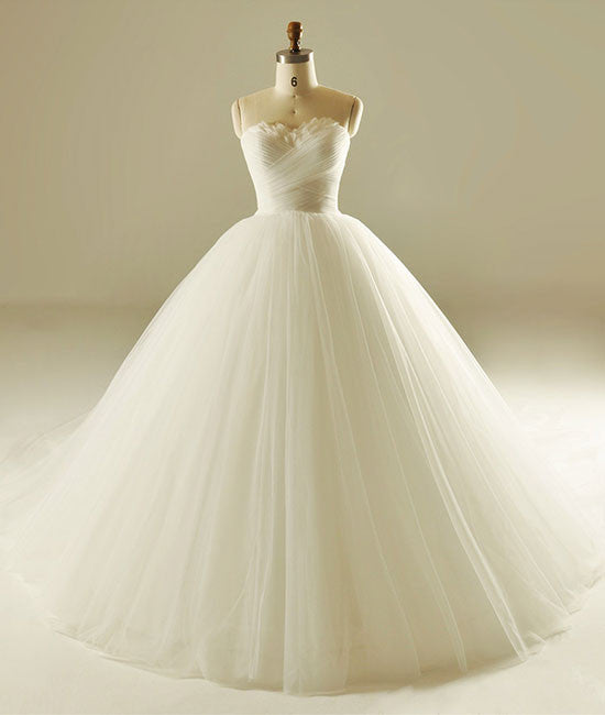 White sweetheart neck tulle long wedding dress, bridal gown