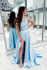 Blue two pieces lace satin long prom dress blue formal dress