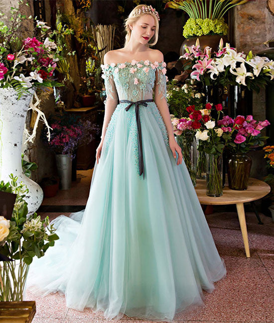 Unique green lace tulle long prom dress, green evening dress - shdress