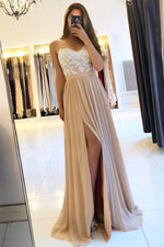 champagne sweetheart lace chiffon long prom dress, evening dress