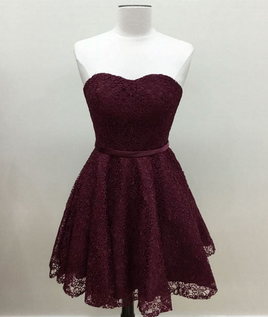 Cute burgundy lace short prom dress, burgundy short homecoming dress - shdress