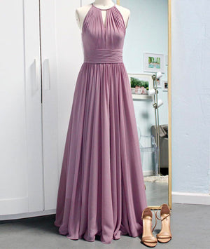 Simple pink chiffon long prom dress, bridesmaid dress - shdress