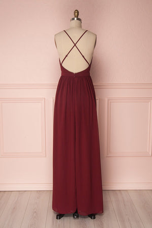 Simple burgundy chiffon long prom dress burgundy formal dress