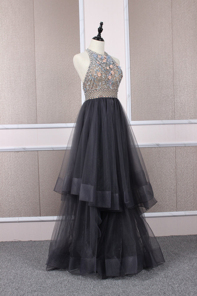 Unique tulle beads long prom dress tulle long evening dress