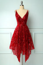 Burgundy v neck lace high low prom dress lace formal dress