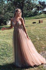 Champagne pink tulle lace long prom dress tulle formal dress