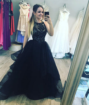 Black tulle lace long prom dress, evening dress - shdress