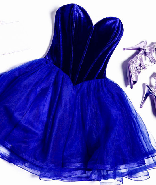 A line sweetheart neck tulle short prom dress, homecoming dress - shdress