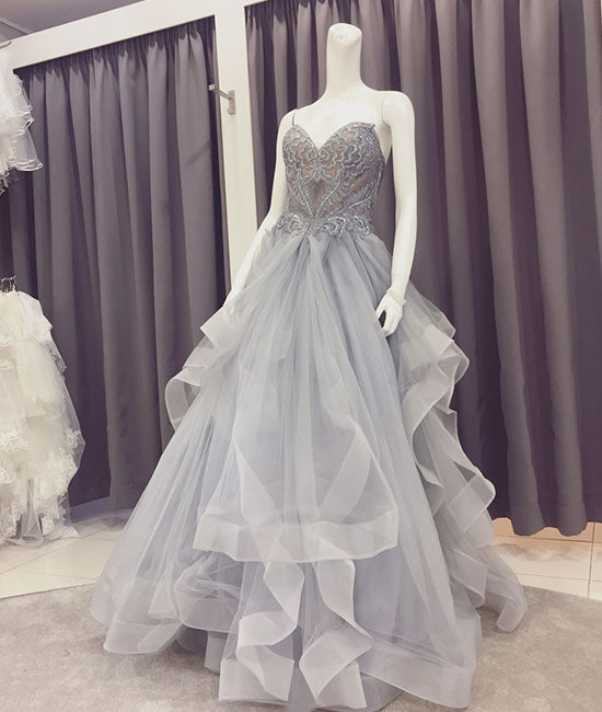 Gray lace tulle long prom dress, sweetheart neck evening dress - shdress