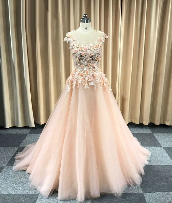 Pink round neck tulle lace applique long prom dress, evening dress - shdress