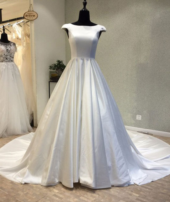 White round neck satin long prom gown, evening dress