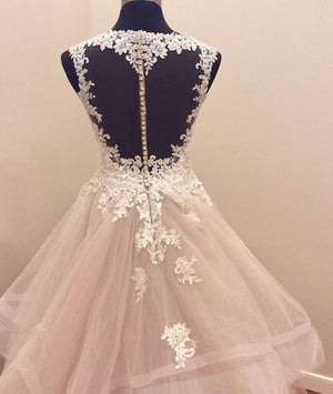 Custom made tulle lace long prom gown, lace evning dress - shdress