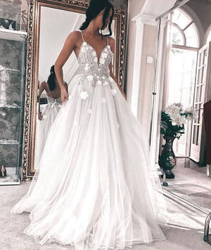 White v neck tulle long prom dress, white evening dress - shdress