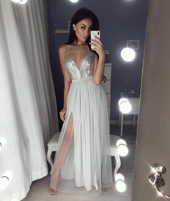 Gray v neck tulle long prom dress, gray evening dress - shdress