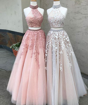 Custom made two pieces tulle long prom dress, lace evening dress - shdress