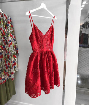Red v neck lace short prom dress, homecoming dress - shdress