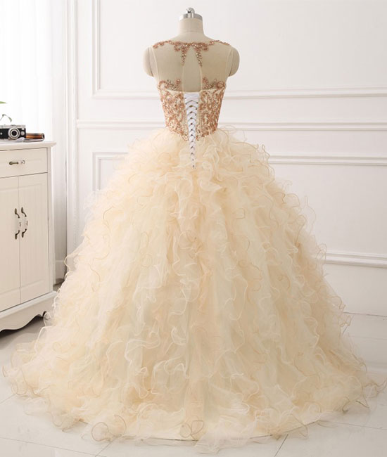 Champagne round neck tulle long prom gown ,champagne evening dress - shdress