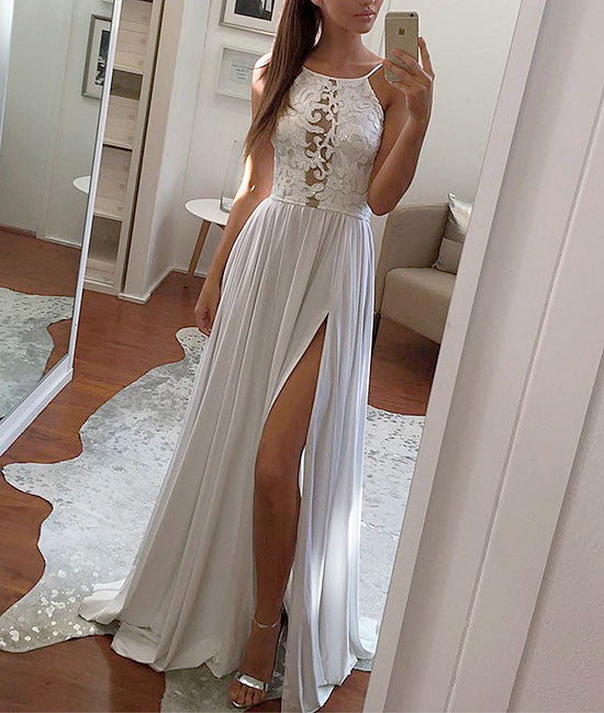 Simple white lace chiffon long prom dress, white evening dress - shdress